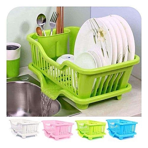 Plastic Plate Rack With Drain Outlet