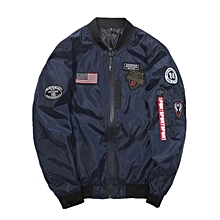 643d43e93262 Men Bomber Jacket With Patches Thin Casual Coat - Dark Blue