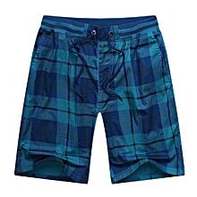 Men's Sport Beach Shorts Drawstring Plaid Checked Cotton Boardshort(Blue)