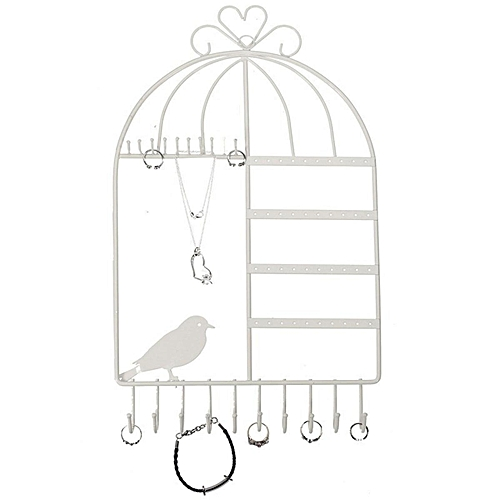 10X18'' Wall Mounted Jewelry Storage Rack Earrings Necklace Bracelet Display # White