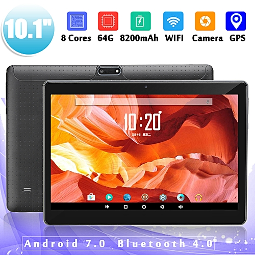 10.1'' 4G+64GB Android 7.0 Black Tablet PC HD Bluetooth Double 2 SIM Octa Core Camera