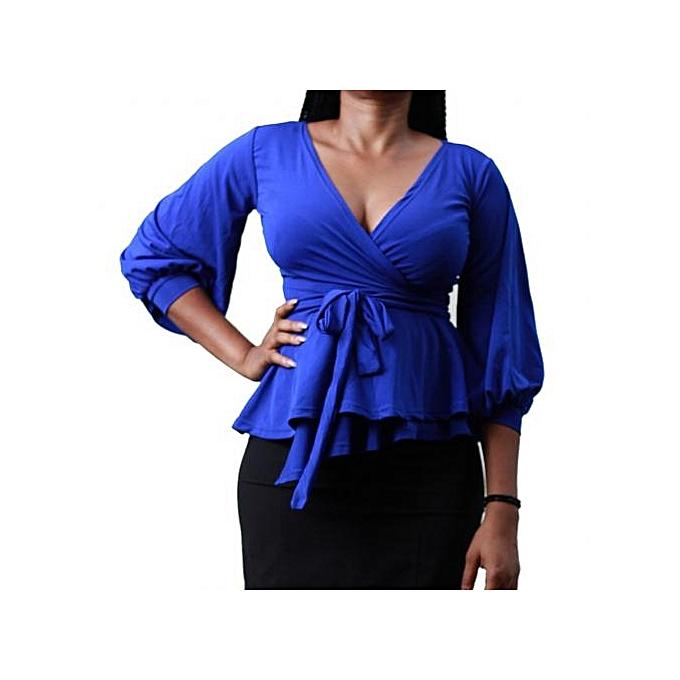 171c3dd2e966 Virtue Clothier Sara Wrap Top - Blue | Jumia NG