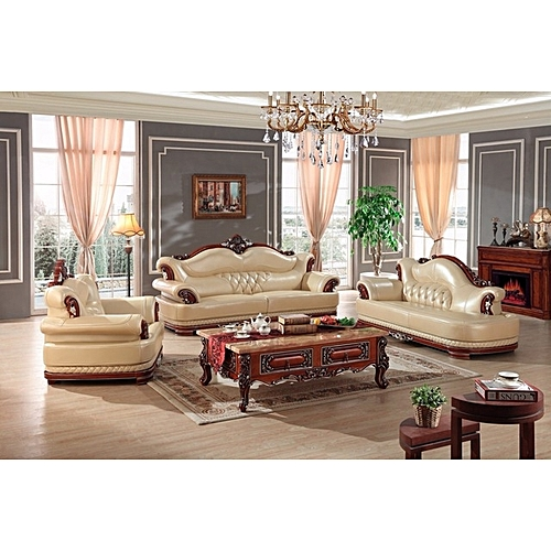 Royal Gent 7 Seater Leather Set With Chaise Lounge