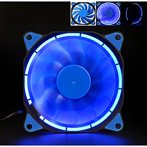 Quiet 120mm 12V 3+4pin LED Effects Clear Computer Case Fan For Radiator Mod BU-Blue