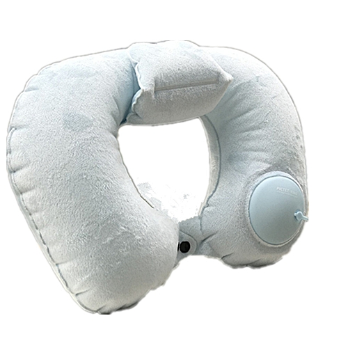 Hand Pressure Inflatable Crystal Velvet Neck Pillow-Light Blue