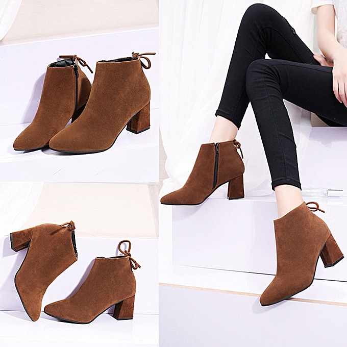 3ce5c660f456 Women Boots Square Heel Lace Up Ankle Boots Martin High Heels Platform Boots