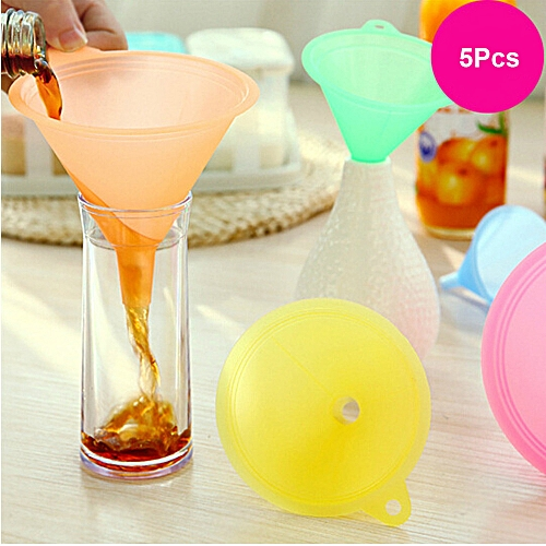 Watermalend 5 PCS Colorful Plastic Funnel Small Medium Large Variety Liquid Oil Kitchen Set