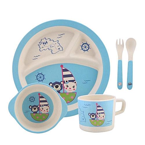 5 Pcs / Set Bamboo Fiber Children Tableware For Children Baby Dishes Dinnerware