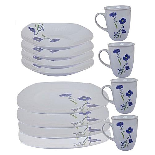 Square Decal Porcelain Dinner Set - 12 Pcs