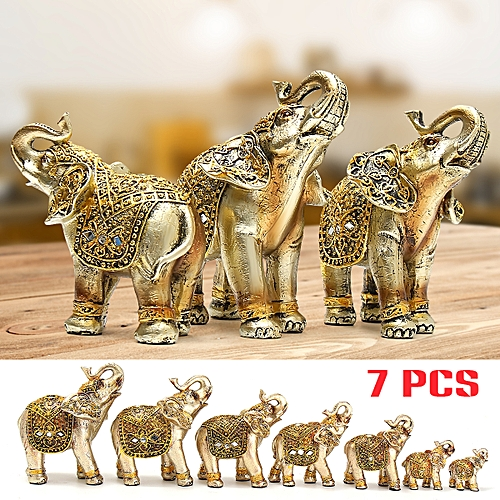 Gold Set Of 3 Resin Elephants Beautiful Ornament Gift Romany Statue Home Decore