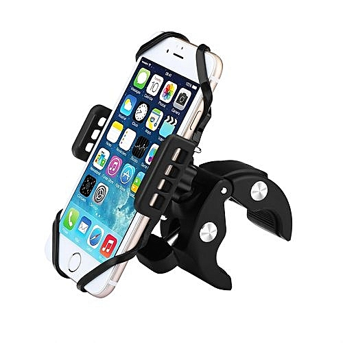 Bike & Motorcycle Phone Mount Holder 360 Degree Rotatable With Rubber Strap - Black