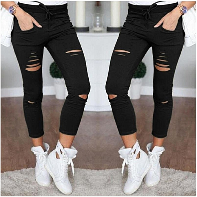 98b008acecb Suitable Fashion Womens Stretch Ripped Jeans Ladies Slim Fit Skinny Jeans  Trousers Casual Hole Pants Leggings