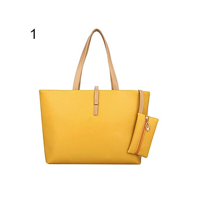 c0d4a3e2b8 Women's Big Shoulder Bag Faux Leather Handbag Buckle Clutch Messenger Purse- Yellow
