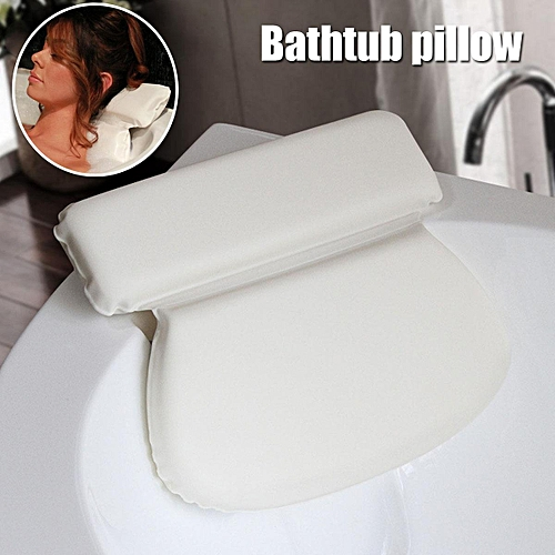 Non-Slip Cushioned Bath Tub Spa Pillow Neck Head Back Support Sponge + 7 Suction