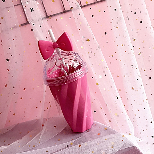 400ML Lovely Straw Cup Cold Drink Cup Plastic With Bow Lid Straw Cup Bottle HOT
