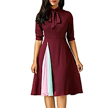 8afbcacf6a Generic Women Casual Dress Ladies Half Sleeve Dress Evening Party Dress -  Red