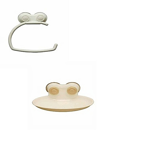 Wall Attachable Soap Dish With Suction Cup/ Tissue Holder