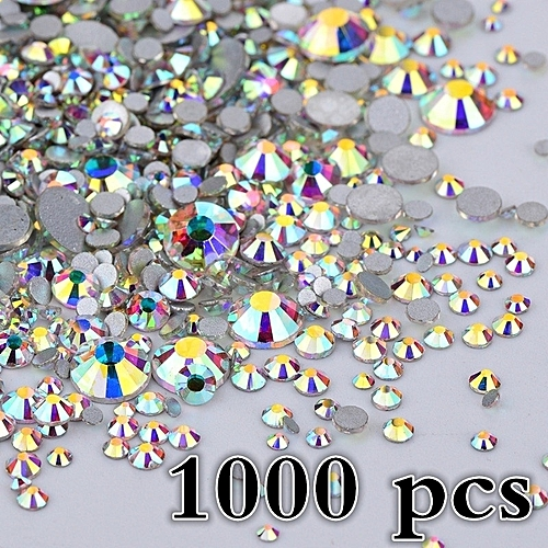 Generic 1000 Pcs Mix 8 Size Glass Crystal AB Rhinestones Flat Back Round  Nail Art Stones Non Hotfix Clear Strass Crystals For DIY 27f4e7655b53