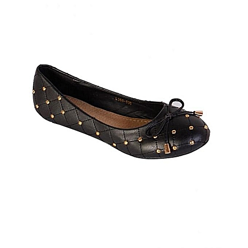 Women Flats Shoes With Gold Studded Bow Detail - Black