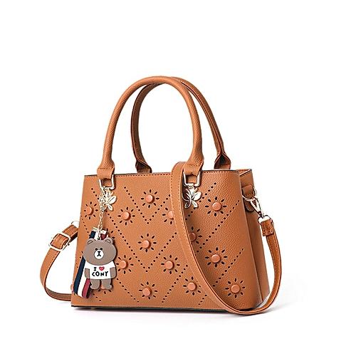 Womens Concise Tote Satchel Handbag - Brown