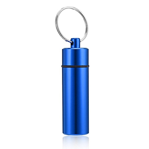 Waterproof Pill Shaped Aluminum Alloy Pill Drug Bottle Holder Container Keychain Blue