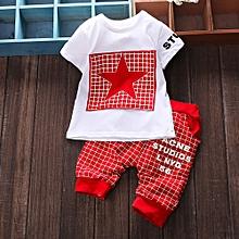 Tectores 2Pcs Infant Kid Boys Girl Letter Star Print Plaid Tops+Pants Outfits Clothes Set