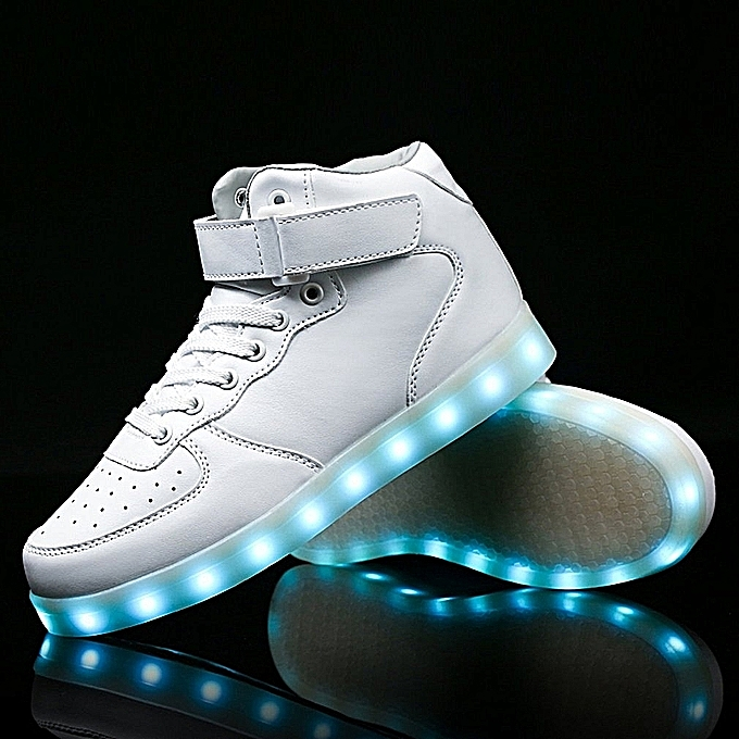 Men White LED Flashing Lighting Light Up Shoes USB Charge Lace-up Shoes ... ebb3d0c3efd6
