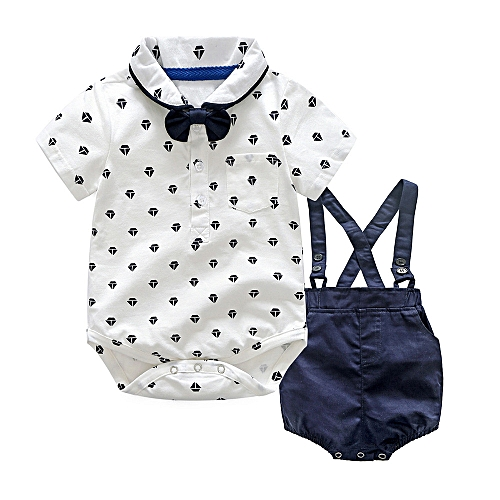 2f29906910a098 Fashion Baby Outfit Kids Baby Boys Summer Gentleman Bowtie Shirt Romper+Suspenders  Shorts Set-White