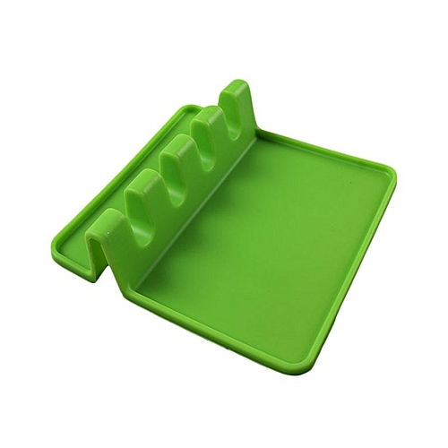Silicone Spoon Rest Stand Ladle Holder Cooking Utensil Shelf Kitchen Tool Green
