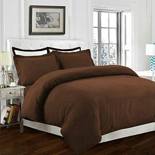 Plain Brown Duvet, Bedsheet With 4 Pillow Case