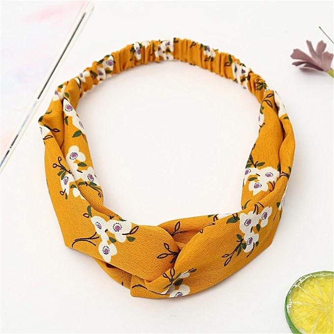 Boho Floral Twist Knot Headband Elastic Wrap Turban Hair Band Yoga Sports  Ladies 302b82c7ff9