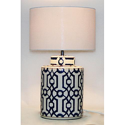 Dark Brown And White Block Painted Ceramic Table Lamp, Hot Sale