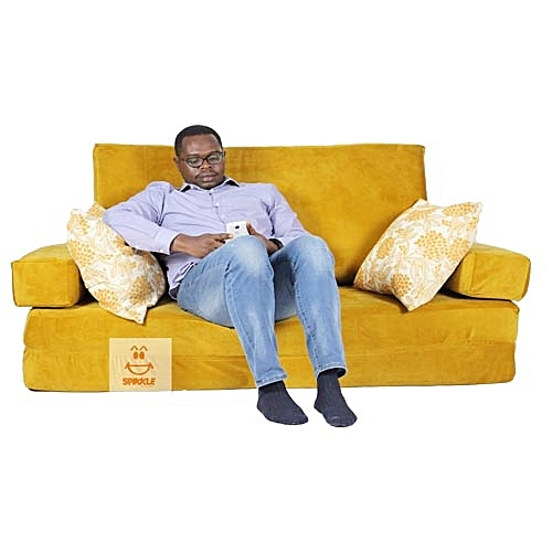 3 Seater Sofa Bed Chair Mustard Yellow Delivery Within Lagos Only
