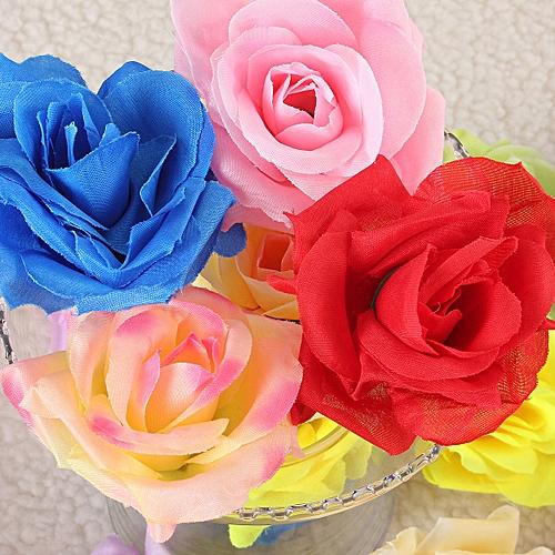 10pcs Silk Roses Artificial Bridal Wedding Car Decor Church Flower Heads 9CM