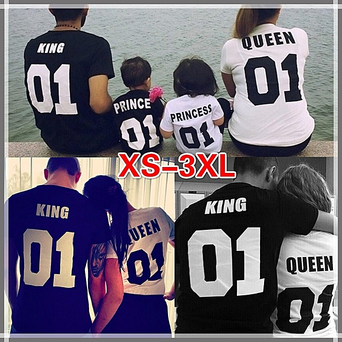 74759bc150 ... King Queen Prince Princess Kids & Family Matching T Shirts Couple T-shirt  Family Dress ...