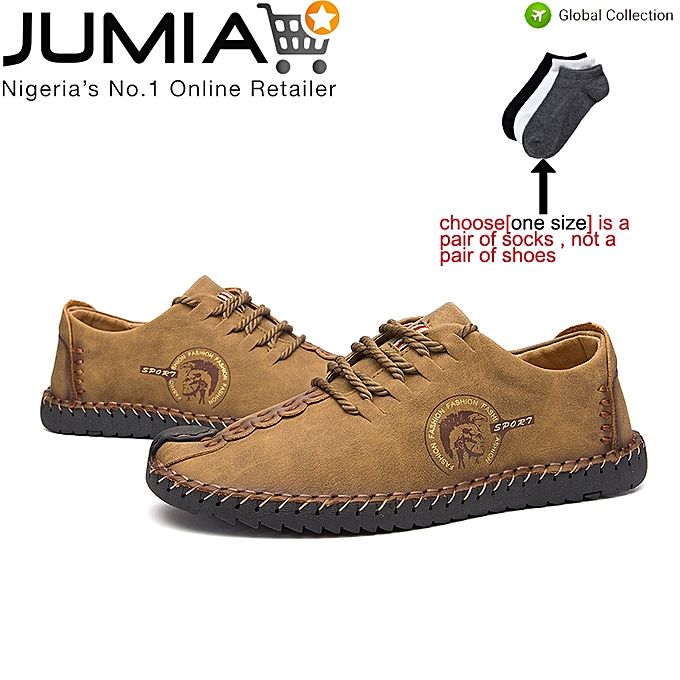 a34bde1592fd9 Fashion Mens Casual Walking Shoes Leather Fashion Sneaker-Brown ...
