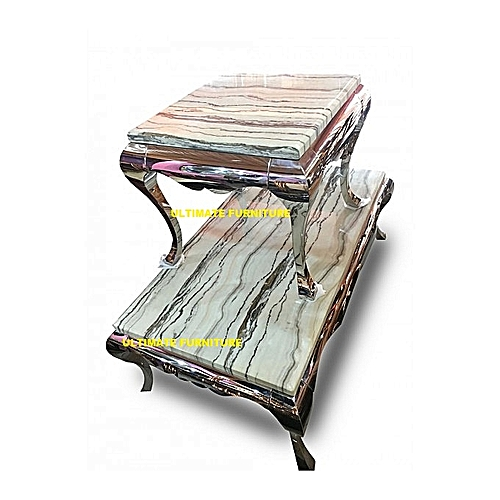 Marble Center Table With 2 Side Stools