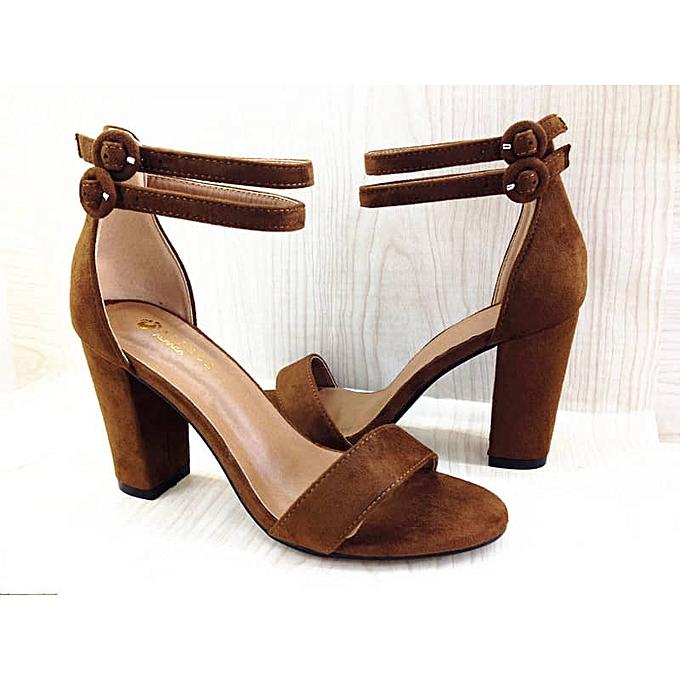 670ce8ae1aa Alpaca Ankle Double Strap Block Heel Sandal - Brown
