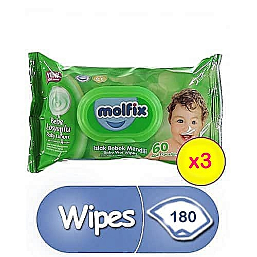 Baby Wipes - Count 60 (X 3)
