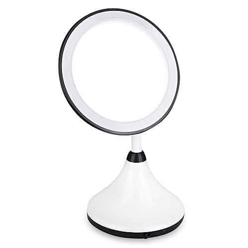 Countertop Rotating LED Touch Screen Makeup Mirror - Black