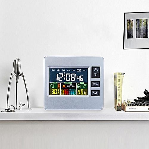 LCD Digital Temperature Humidity Alarm Clock-Silver