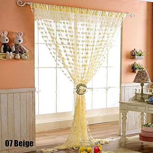 Colorful Romantic Love Pattern Line Curtain - Beige