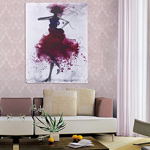 Red Fashion Girl Minimalist Abstract Canvas Oil Printed Painting Framed/Unframed-Red