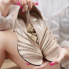 e168a69c1e56d Women's Low Heel Hollow Solid Color Sandals Shoes-Gold