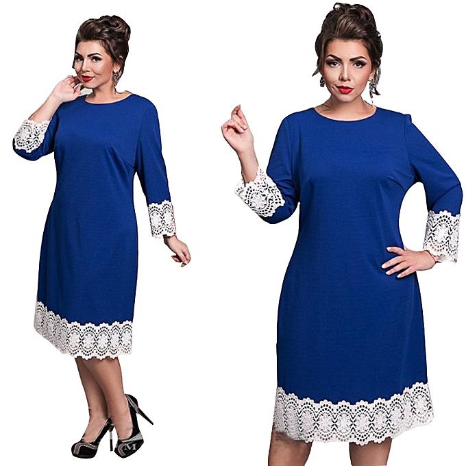 8019a41f101 2017 Summer Autumn Women Fashion Plus Size Elegant Lace Dress O-Neck Big  Size Office