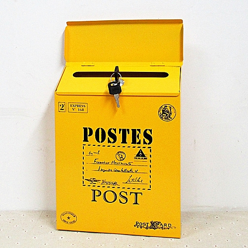 Pastoral Style Lockable Mailbox Waterproof Mailbox Metal Lock Postcard Retro Wall Box Home Decoration Home Office Space Desktop