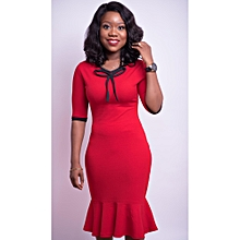 c76e9cbf95 Red And Black Peplum Hem Bodycon Dress/Neck Detail