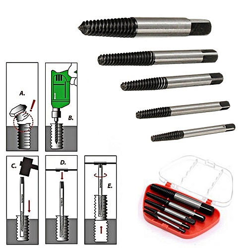 5PCS Screw Extractor Drill Bits Guide Broken Damaged Bolt Remover