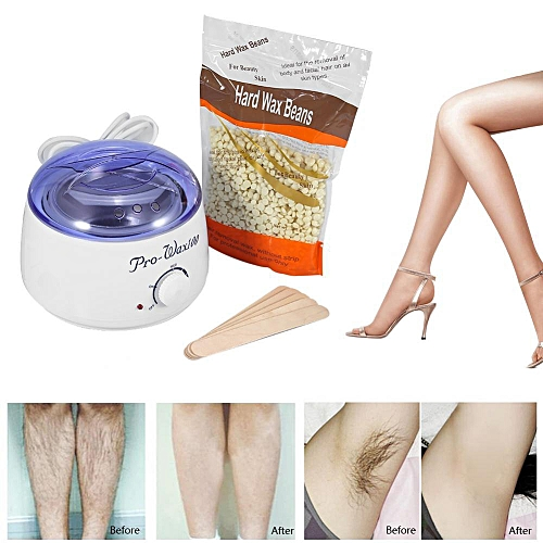 Wax Paraffin Warmer Depilatory Heater Hair Removal Pot Machine Kit With Waxing Beans Spatula EU