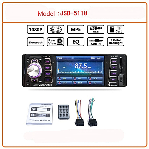 Fashion 4.1in Bluetooth Car Audio Stereo FM DVD CD MP5 Player Receiver USB SD AUX Input